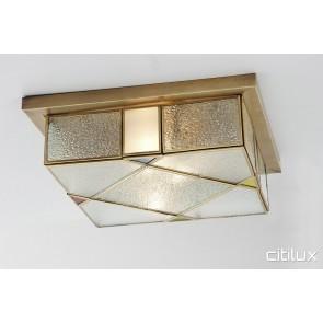 Ingleburn Traditional Brass Made Flush Mount Ceiling Light Elegant Range Citilux