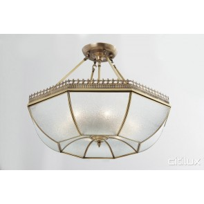 Lower Portland Classic Brass Made Semi Flush Mount Ceiling Light Elegant Range Citilux
