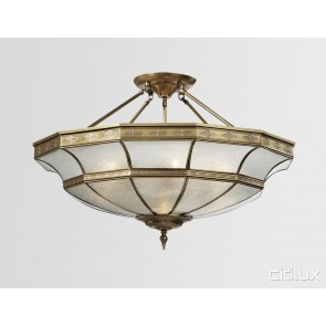 Luddenham Classic Brass Made Semi Flush Mount Ceiling Light Elegant Range Citilux