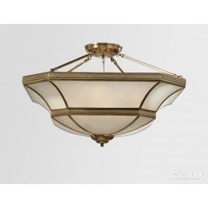 Lurnea Classic Brass Made Semi Flush Mount Ceiling Light Elegant Range Citilux