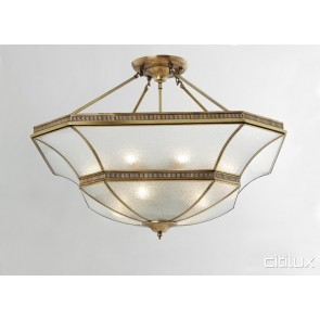Macquarie Links Classic Brass Made Semi Flush Mount Ceiling Light Elegant Range Citilux