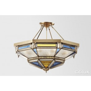Maddens Plains Classic Brass Made Semi Flush Mount Ceiling Light Elegant Range Citilux