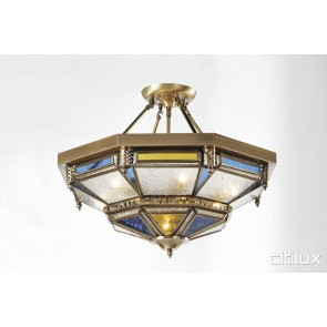 Malabar Classic Brass Made Semi Flush Mount Ceiling Light Elegant Range Citilux