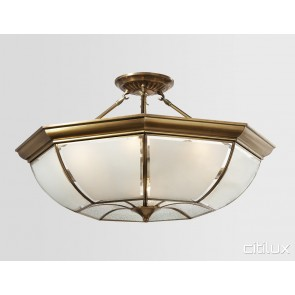 Manly Vale Classic Brass Made Semi Flush Mount Ceiling Light Elegant Range Citilux