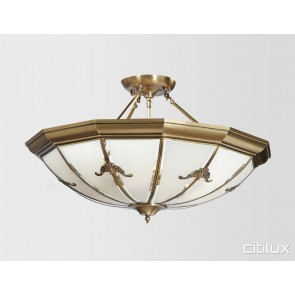 Maroubra Classic Brass Made Semi Flush Mount Ceiling Light Elegant Range Citilux