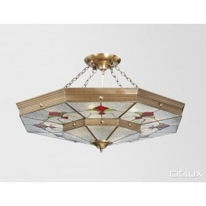 Marsden Park Classic Brass Made Semi Flush Mount Ceiling Light Elegant Range Citilux