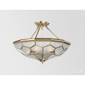 Mays Hill Classic Brass Made Semi Flush Mount Ceiling Light Elegant Range Citilux