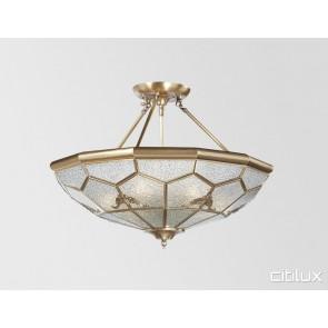 Mays Hill Classic Brass Made Semi Flush Mount Ceiling Light Elegant Range Citilux
