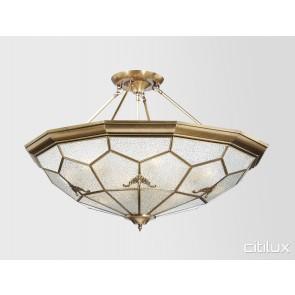 McMahons Point Classic Brass Made Semi Flush Mount Ceiling Light Elegant Range Citilux