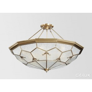 Melrose Park Classic Brass Made Semi Flush Mount Ceiling Light Elegant Range Citilux
