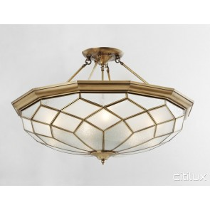 Merrylands West Classic Brass Made Semi Flush Mount Ceiling Light Elegant Range Citilux