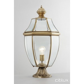 Mona Vale Classic Outdoor Brass Made Pillar Mount Light Elegant Range Citilux