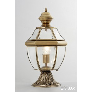 Mosman Traditional Outdoor Brass Made Pillar Mount Light Elegant Range Citilux