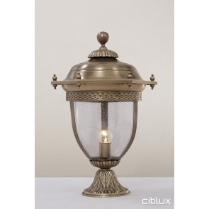 Newington Classic Outdoor Brass Made Pillar Mount Light Elegant Range Citilux