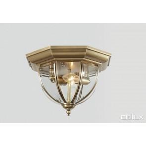 North Bondi Traditional Brass Made Flush Mount Ceiling Light Elegant Range Citilux