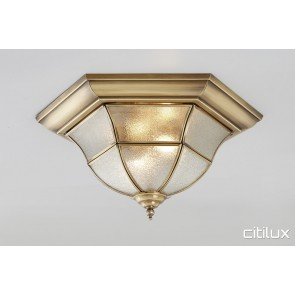 North Narrabeen Traditional Brass Made Flush Mount Ceiling Light Elegant Range Citilux
