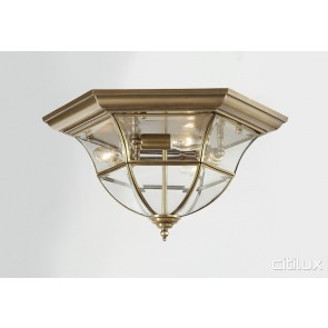 North St Marys Traditional Brass Made Flush Mount Ceiling Light Elegant Range Citilux