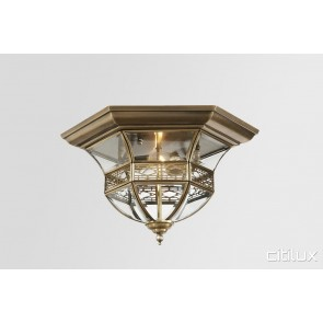 North Wahroonga Traditional Brass Made Flush Mount Ceiling Light Elegant Range Citilux