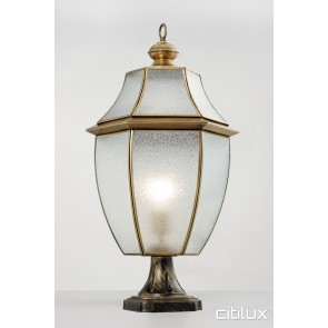 Quakers Hill Classic Outdoor Brass Made Pillar Mount Light Elegant Range Citilux