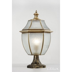 Queenscliff Classic Outdoor Brass Made Pillar Mount Light Elegant Range Citilux
